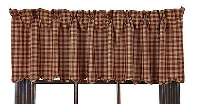 Rustic Country Primitive Homespun BURGUNDY Check Scalloped Valance Curtain