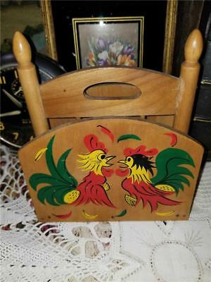 Vintage 1950 Wood Napkin Kitchen Holder Red Green Yellow Painted Chicken Rooster