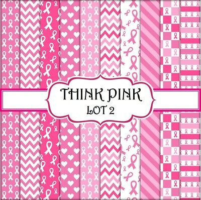 THINK PINK - LOT 2  SCRAPBOOK PAPER - 10 x A4 pages