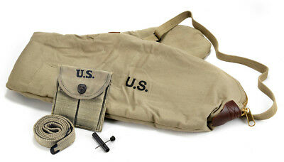 M1 CARBINE SLING OILER BUTTSTOCK POUCH & FLEECE CASE  Lt. OD Green Dated 1943