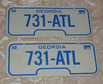 2 Vtg 1982 Sm GEORGIA Wheaties Cereal Auto Bike Motorcycle State License Plates