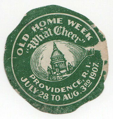 1907 PROVIDENCE Rhode Island OLD HOME WEEK Travel LABEL Decal CAPITOL Building