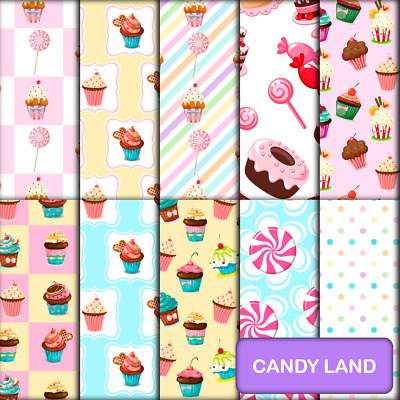 CANDY LAND SCRAPBOOK PAPER - 10 x A4 pages.