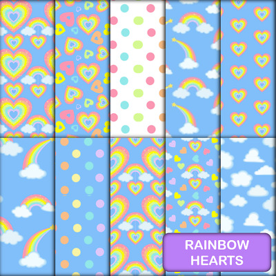 RAINBOW HEARTS SCRAPBOOK PAPER - 10 x A4 pages.