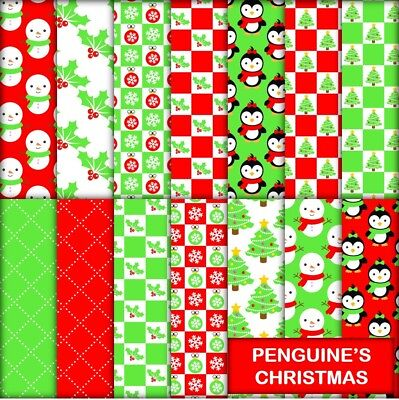 PENGUINE CHRISTMAS SCRAPBOOK PAPER - 14 x A4 pages.