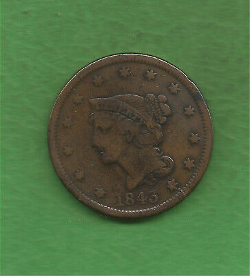 1843 Braided Hair, Large Cent, Petite Head - 175 Years Old!!!
