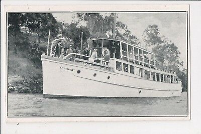 Pleasure Cruiser MIRIMAR on River Excursion, Brisbane - Early Postcard.