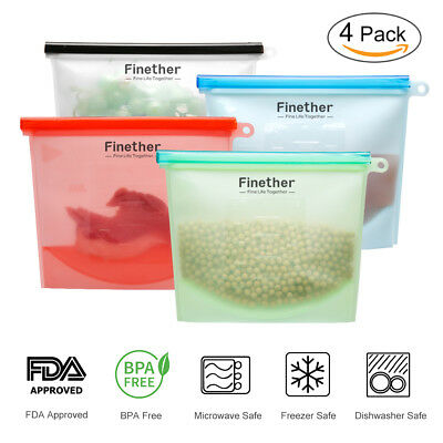 Reusable Seal Silicone Fridge Food Fresh Bag Vacuum Sealer Ziplock Storage Bags