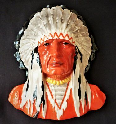 Rare Original 1930s Art Deco Wall face mask Red Indian Chief Czech
