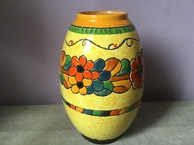 Art Deco CROWN DUCAL Sgrafitto CHARLOTTE RHEAD Incised FLORAL Ovoid Vase 1930's