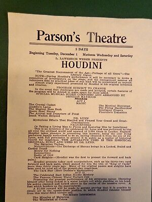Vintage Magician Harry Houdini Broadside Parson's Theater Jersey City New Jersey