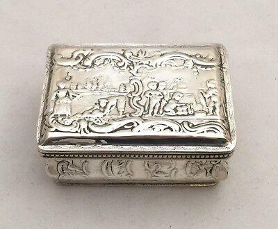 Dutch with London Import Hallmarks Sterling Solid Silver Snuff Box 1892 98.5g