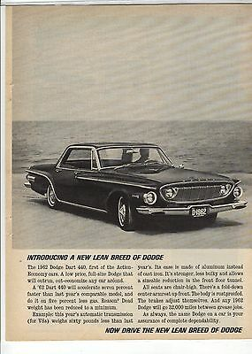 Original 1962 Dodge Dart 440 Magazine Ad - Introducing a Lean Breed of Dodge