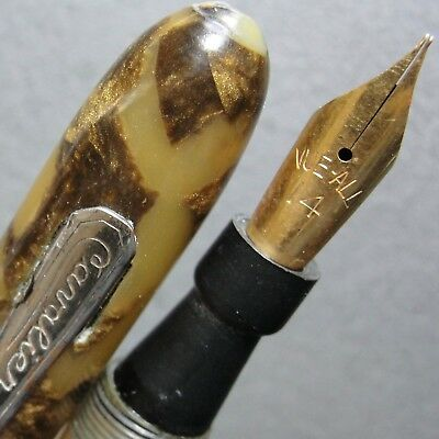 GT Gold Agate CAVALIER Lever Fountain Pen VUE-ALL 14K GP M Nib New Sac