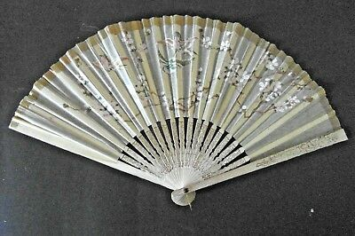 Antique Chinese Paper Fan Hand Painted Birds/Floral Pattern