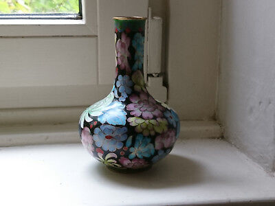 Emallie Asien Vase Cloisonne Handarbeit China Blüten Messing