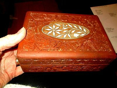 Vintage Indian Hand Carved  Wooden Box with Cream Organic Inlays on Top