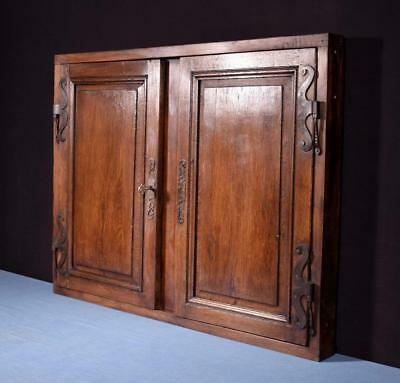*French Antique Cabinet Doors and Frame in Oak Wood with Key