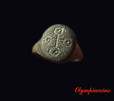 * VERY FINE * Ancient ROMAN OR CELTIC Bronze ring ** CROSS **