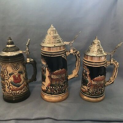 OKTOBERFEST! Lot Of 3! VINTAGE GERMAN HANDARBEIT LIDDED BEER STEIN