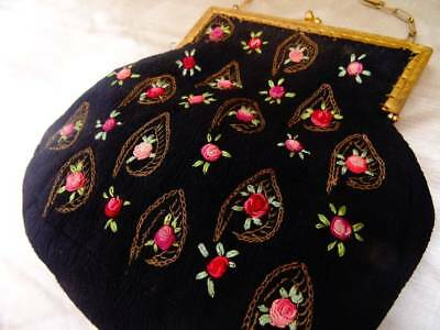 A Charming Antique Edwardian Hand Embroidered Evening Bag C.1910