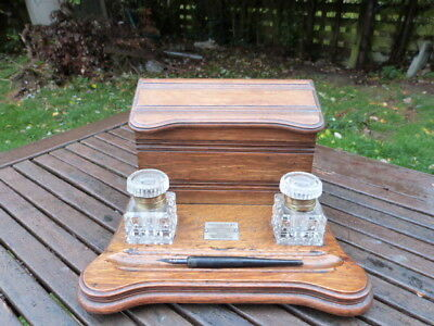 Antique Oak & Glass Twin Inkwell/letter Holder/pen Rest/desk Tidy With Plaque..