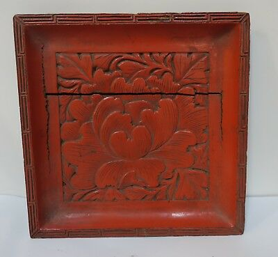 KLMbx ASIAN LACQUER CINNABAR RED LOTUS PLAQUE - AS IS