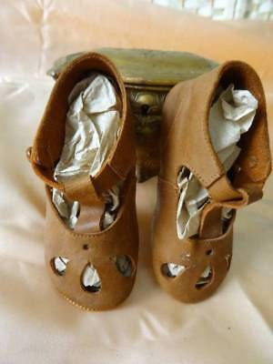 A Delightful Pair Of Tiny French Child/Dolls Leather Shoes C.1915