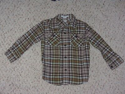 Brown, Green, White, Yellow & Blue Plaid Janie and Jack Shirt, Autumn Timber, 3T