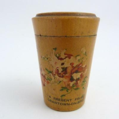 Antique Mauchline Ware Toddy Cup Holder, A Present From Grantown-On-Spey