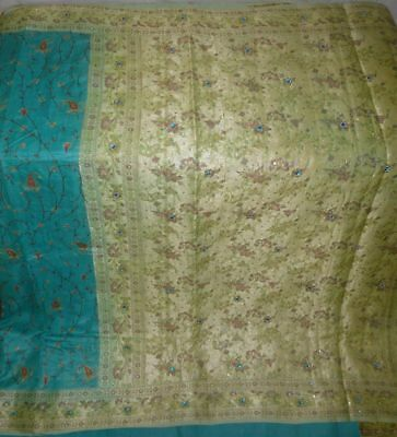 Antique Vintage Hand Embroidered Fabric Weaving Woven Pure Silk Sari Saree India