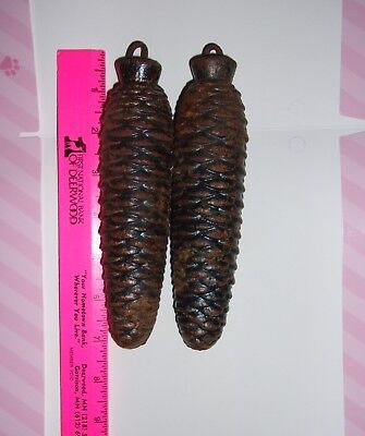 Vintage Pair of Cuckoo Clock Pinecone Weights 2 1/2 + lb each GUC