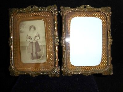 Rare pair of antique French pressed bronze photo frames 2 of 2 c1860 wall mount