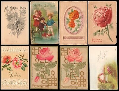 > 8 Used & Unused Vintage Embossed Floral Flower HAPPY BIRTHDAY Postcards