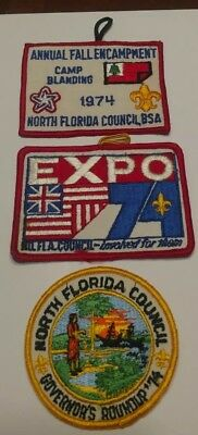 1974 North Florida Council Three Patch Lot (Camp Blanding,Expo & Round up)