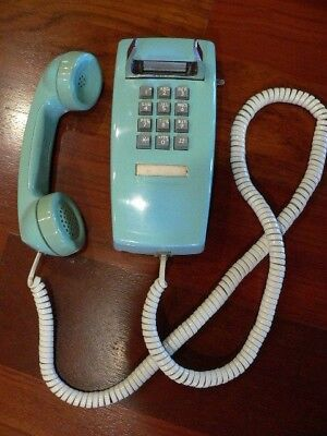 Vintage Bell System Western Electric Blue Aqua Wall Mount Push Button Phone