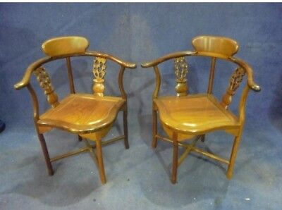 Pair of Solid Mahogany Corner Chair Antique Reproduction