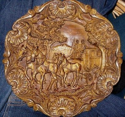 Vintage Carved 3D German Wooden Plate Plaque Horses Stagecoach
