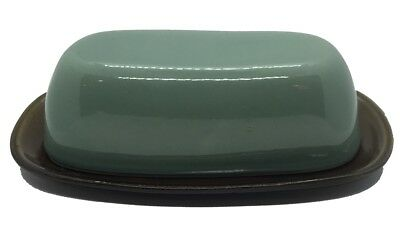 Vintage Country Fare Covered Butter Dish Brown Turqoise/Green