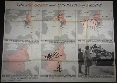 Large WWII Original NEWSMAP POSTER 9/18/44 US GI Issue MAP Liberation of France