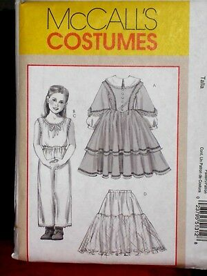 New Uncut Mccall's Costume Pattern M5131 Sz Ch 7,8,10,12 Historical Costume