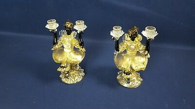 Pair Murano Art Glass Blackamoor Figure Black Gold Double Candlestick Candelabra