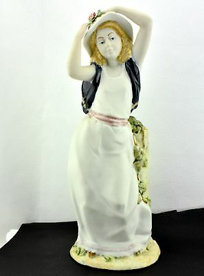 Porcelain Artistic Levantina Vintage Made In Spain Girl in White Gown Hat Figuri