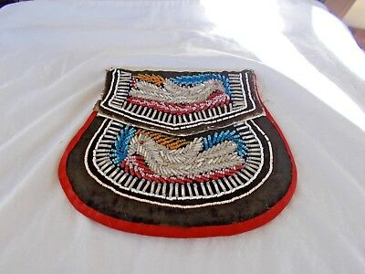 Antique Native America Iroquois Mid19Th Cent Highly Beaded Both Sides  Pouch/bag