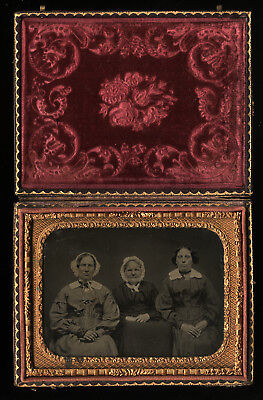 """1/4 Group Ambrotype. Women - """"Canadian Cousins"""" - Canada - Free US Shipping"""