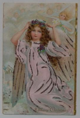 Antique Postcard 1908 Merry Christmas Angel With Glitter Flower-Crown Curly Hair
