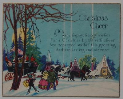 Vintage Christmas Holiday Greeting Card Church Winter Scene Horse People Present