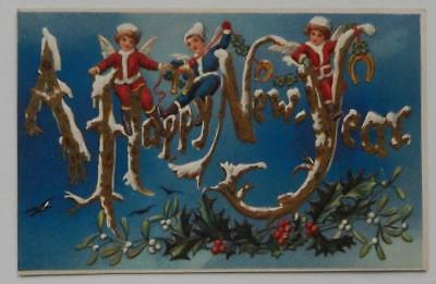 Antique Postcard Embossed A Happy New Year Angels Cherubs Horseshoes Holly