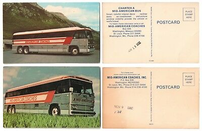 > 1977-1980 MID-AMERICAN COACHES Bus Unposted Unused Chrome Postcards