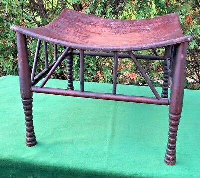 Antique Egyptian Revival Thebes Wood Stool - Aesthetic Movement Arts & Crafts